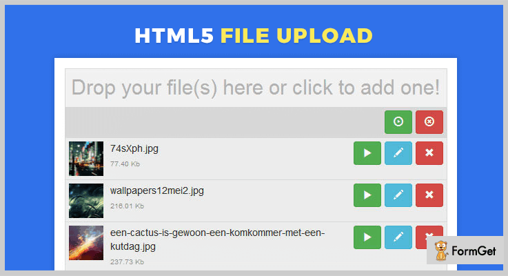 HTML5 File Upload jQuery Ajax File Upload Plugin