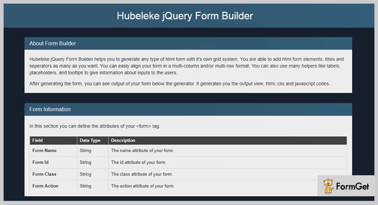 Hubeleke Form Builder jQuery Plugins