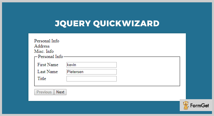 jQuery QuickWizard jQuery Form Wizard Plugins