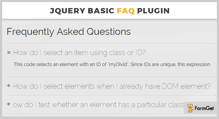 jQuery Basic FAQ jQuery Plugin
