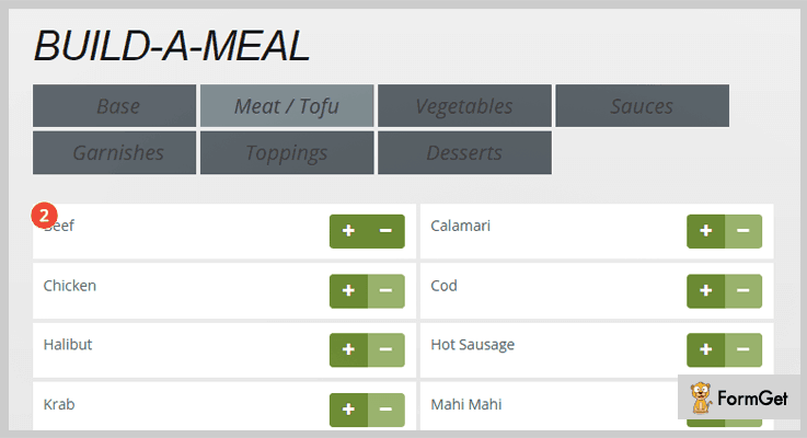 jQuery Build A Meal Calculator jQuery Plugin