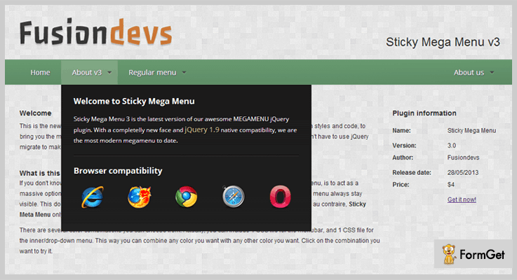 CSS3 Sticky Mega Menu Bar jQuery Sticky Plugins
