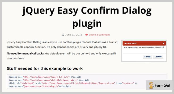 jQuery Easy Confirm Dialog jQuery Dialog Plugin