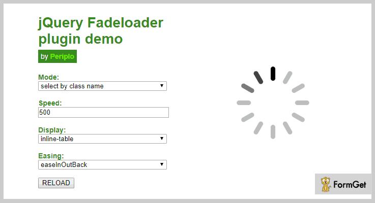 jQuery Fadeloader jQuery Preloader Plugin