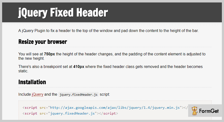 Fixed Header jQuery Fixed Header Plugin