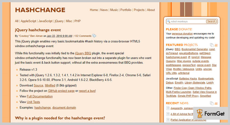 Hashchange event jQuery Bookmark Plugin