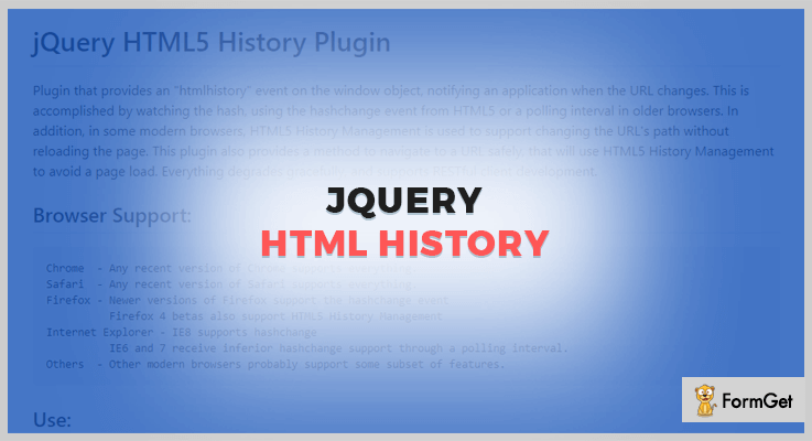 jQuery HTML jQuery History Plugin