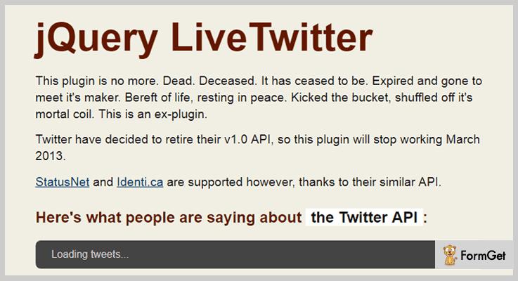 LiveTwitter Twitter jQuery Plugin