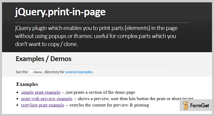 Print In Page jQuery Print Page Plugin