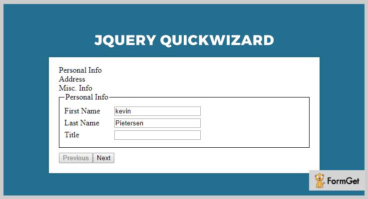 Quick Wizard jQuery Wizard Plugin