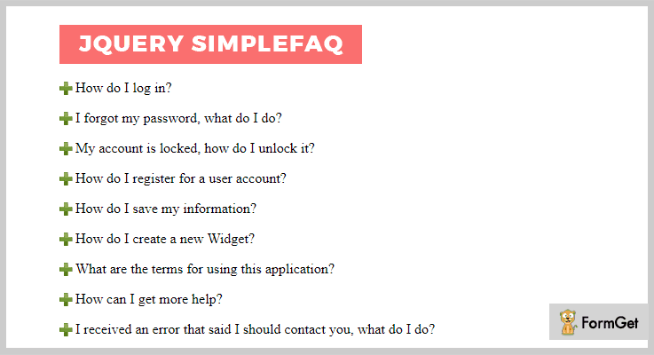 jQuery Simple FAQ jQuery Plugin