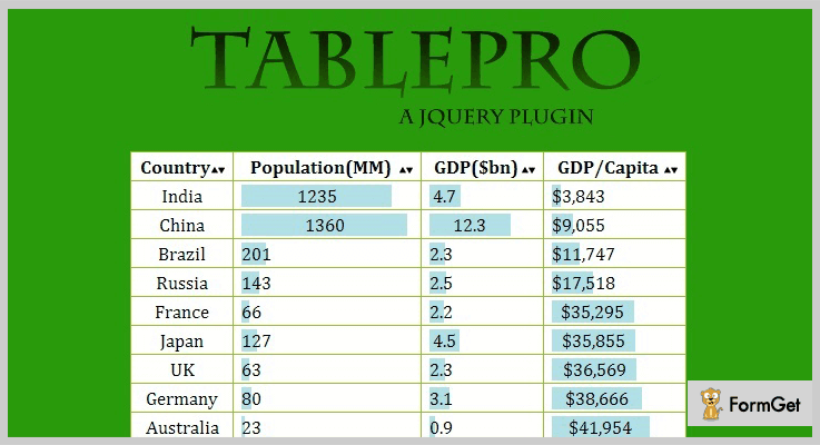 jQuery Table Pro jQuery Table Sorting Plugin