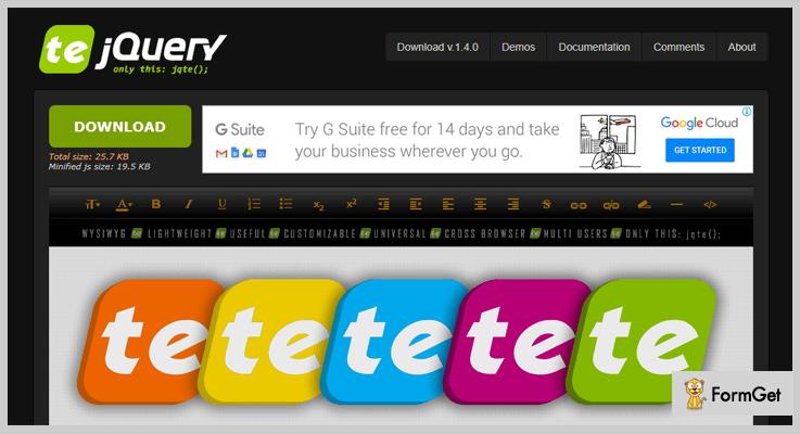 jQuery TE jQuery Text Editor Plugin