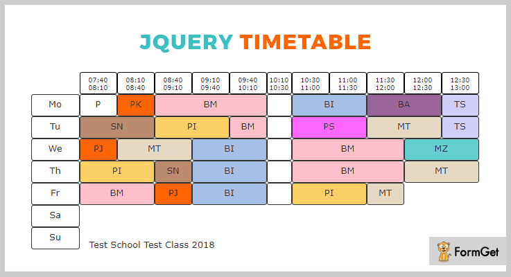 jQuery Timetable jQuery Timetable Plugin
