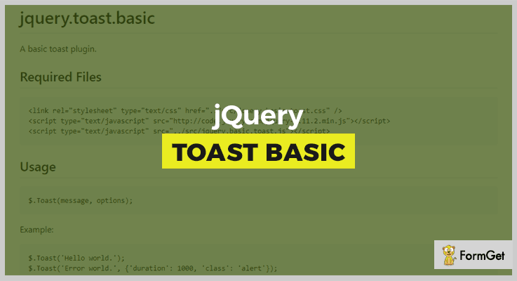 Jquery.toast.basic Toast Notification jQuery Plugins