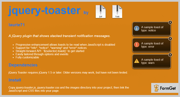 Jquery-toaster Toast Notification jQuery Plugins