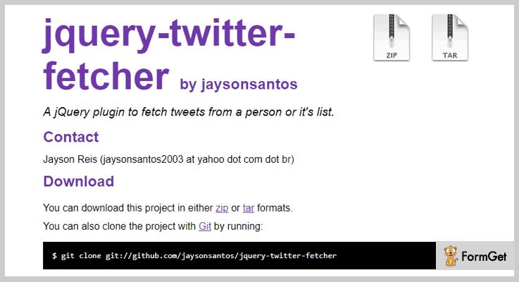 jQuery Twitter Fetcher Plugin Twitter jQuery Plugin