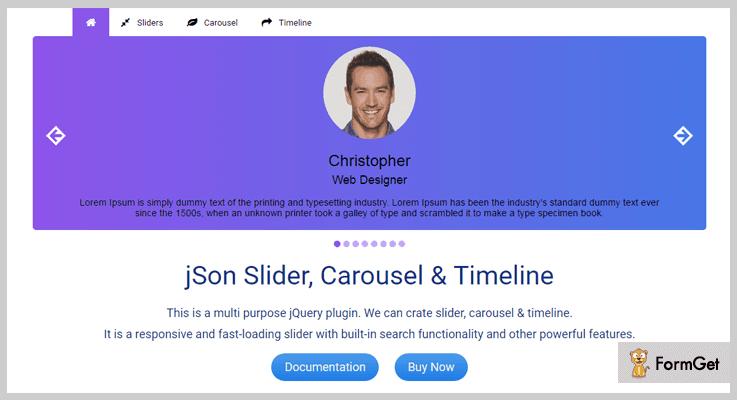JSON Slider jQuery Timeline Plugin