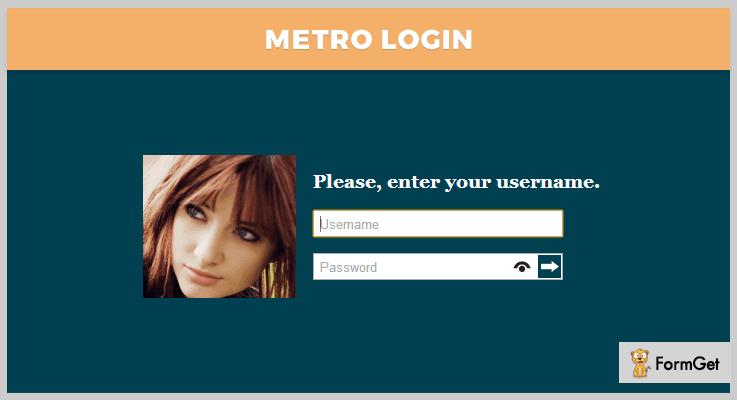 Metro Login jQuery Plugin