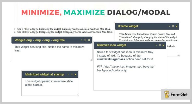 Minimize, Maximize Dialog/Modal jQuery Dialog Plugin