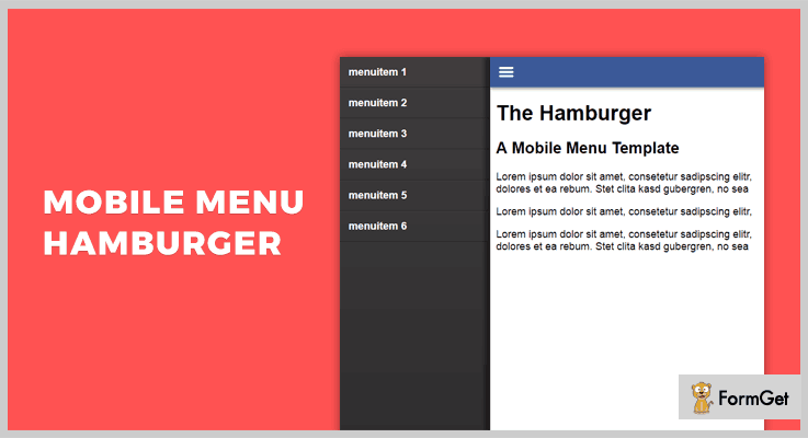 Mobile Menu Hamburger jQuery Hamburger Button Plugin