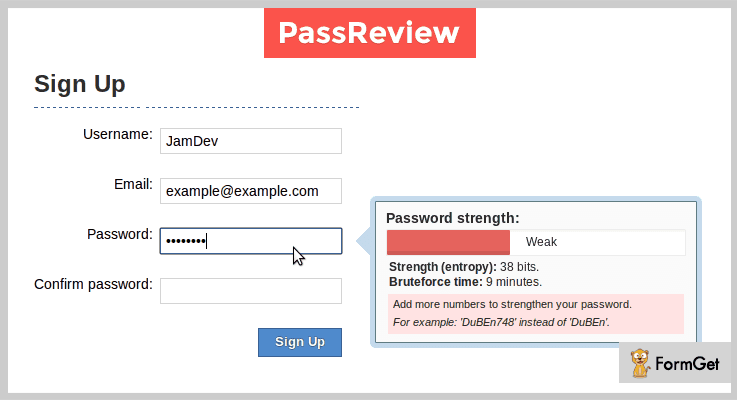 PassReview jQuery Password Strength Plugin