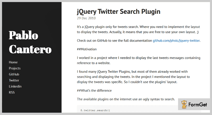 jQuery Twitter Search Plugin Twitter jQuery Plugin