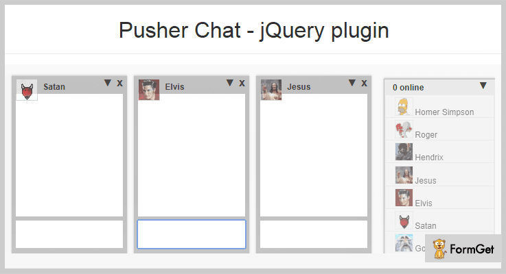 Pusher jQuery Chat Plugin