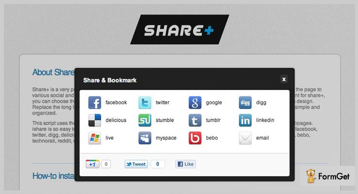 Share+ jQuery Social Share Plugin