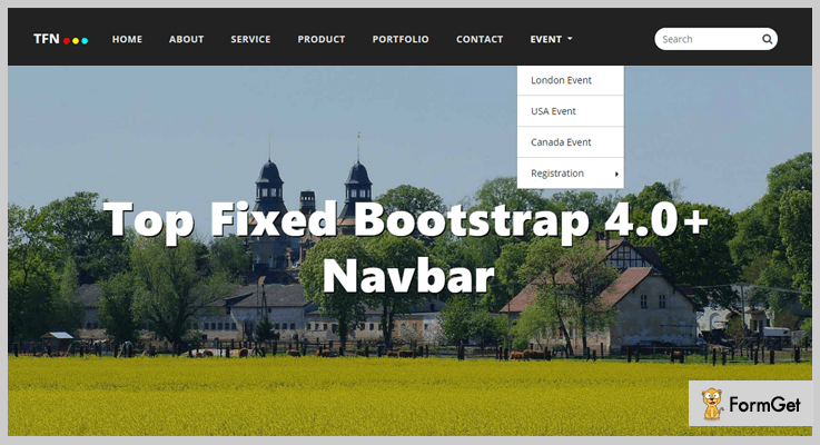 TFN - Top Fixed Bootstrap 4 Navbar jQuery Sticky Plugins