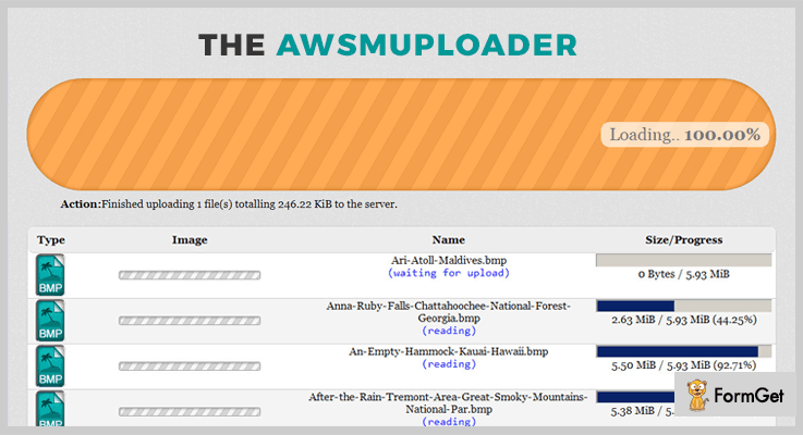 The AwsmUploader jQuery Ajax File Upload Plugin