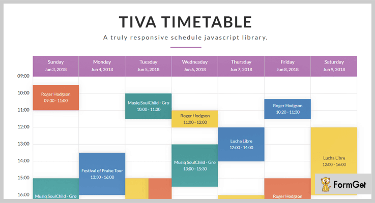 Tiva Timetable jQuery Timetable Plugin