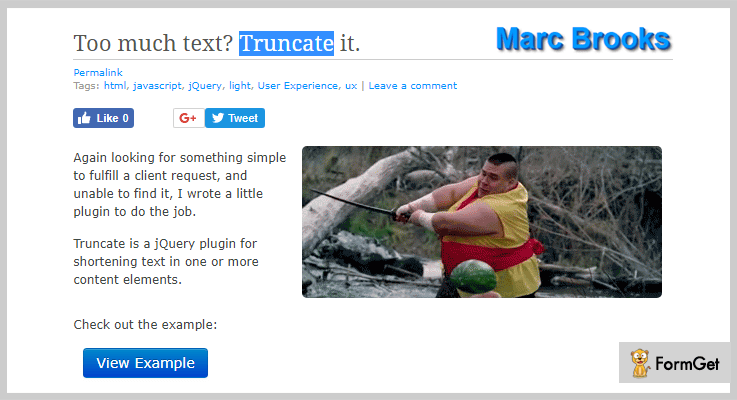 Truncate jQuery Text Truncating Plugin