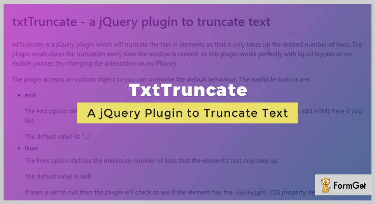 Txt Truncate jQuery Text Truncating Plugin