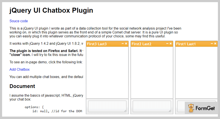 UI Chatbox jQuery Chat Plugin