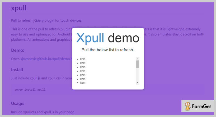 Xpull jQuery Pull To Refresh Plugin