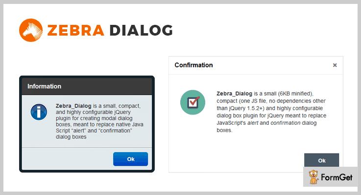 Zebra_Dialog jQuery Dialog Plugin