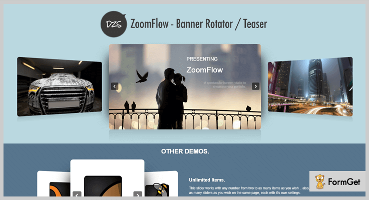 ZoomFlow jQuery 3D Rotator Plugins