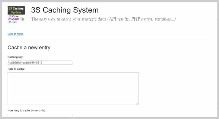 3S Caching System Cache PHP Script