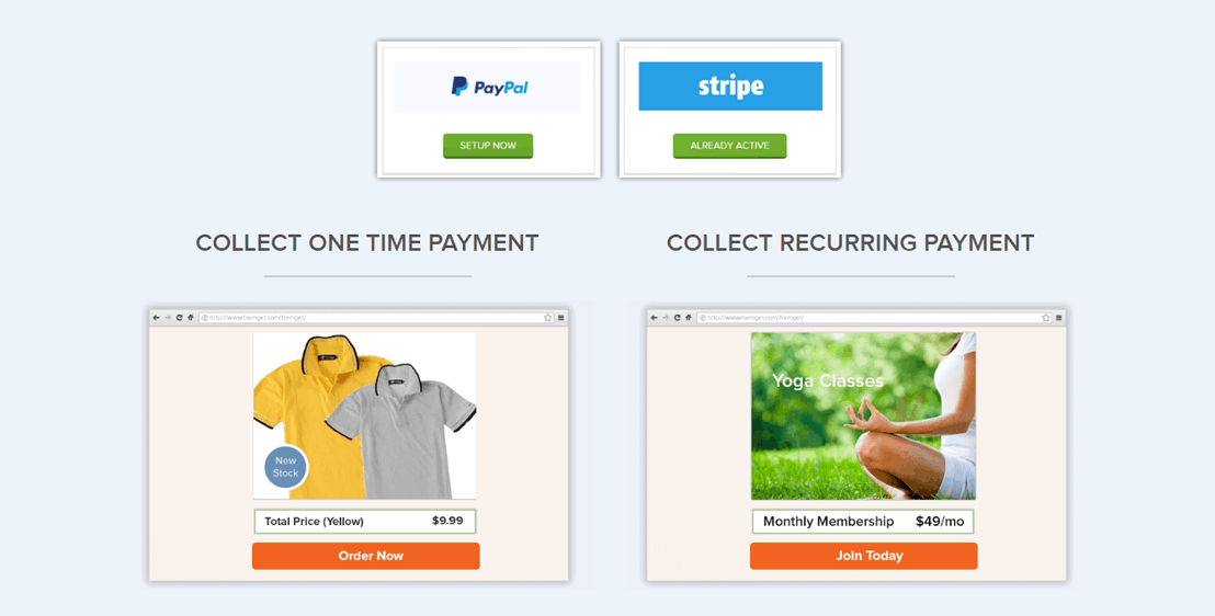 COLLECT INSTANT PAYMENT WITH PAYPAL OR STRIPE