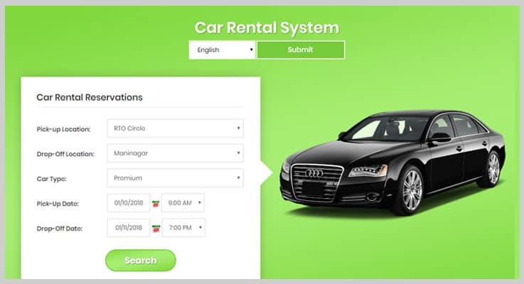 Car Rental Portal PHP Script