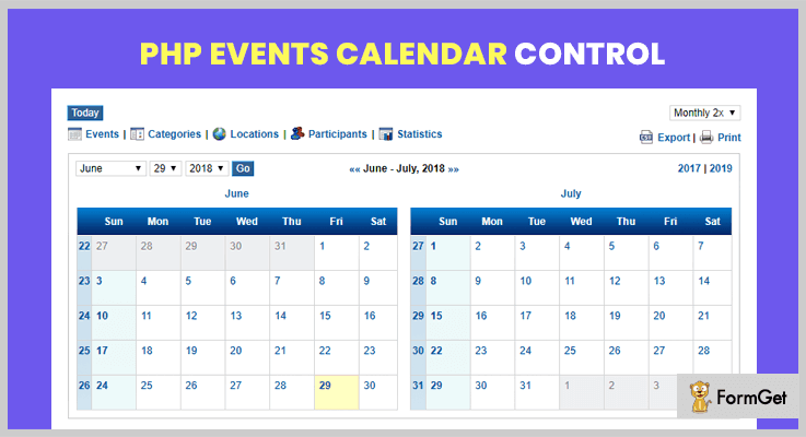 PHP Events Calendar Control