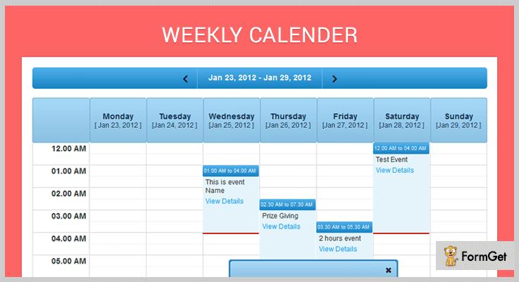 Weekly Calender