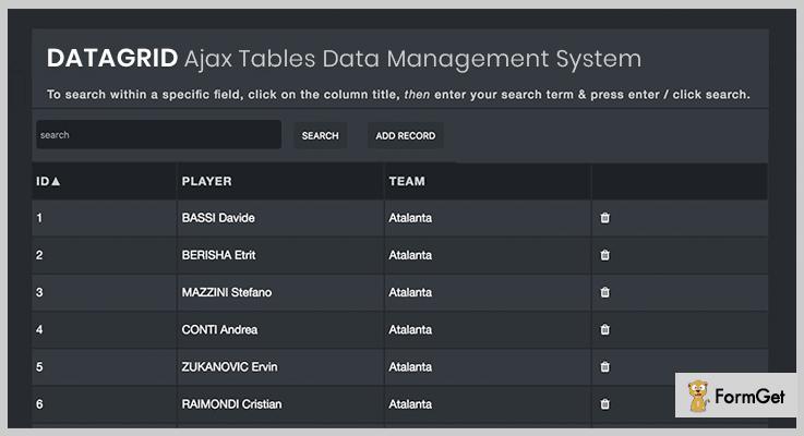 Datagrid Ajax Tables Data Management System PHP Grid Script