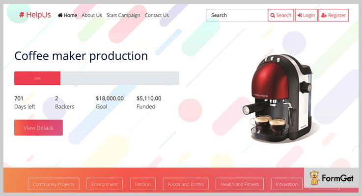 HelpUs Crowdfunding PHP Script