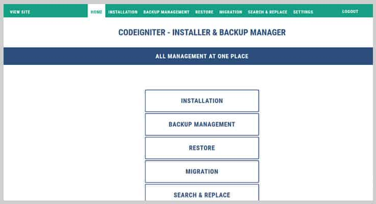 Installer & Backup Manager PHP Script