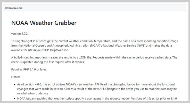NOAA Weather Grabber Weather PHP Script