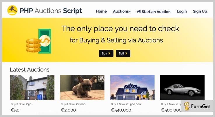 PHP Auctions Script Auction PHP Script