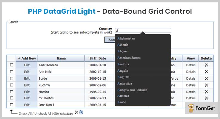 PHP DataGrid Light PHP Grid Script