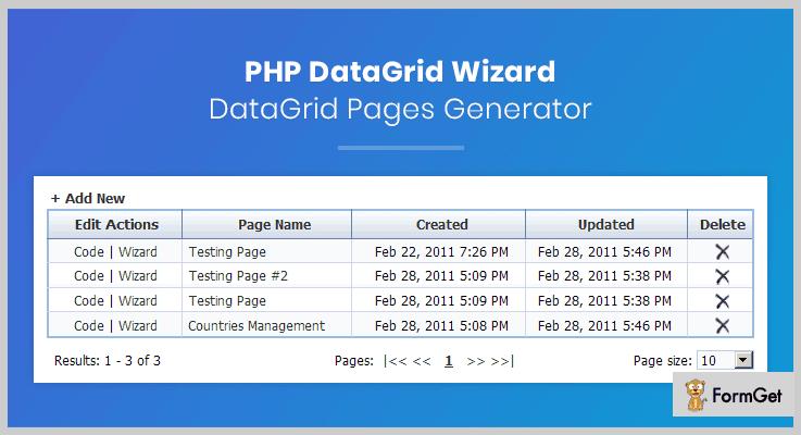 PHP DataGrid Wizard PHP Grid Script